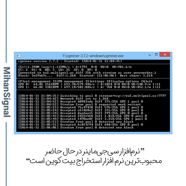 این برنامه از سه روش استخراج CPU ،GPU و ASIC پشتیبانی میکند.