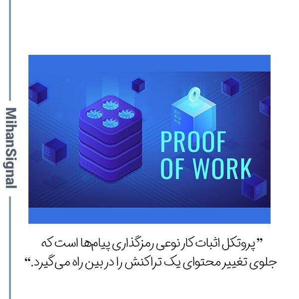 پروتکل اثبات کار نوعی رمزگذاری پیامها است که جلوی تغییر محتوای یک تراکنش را در بین راه میگیرد
