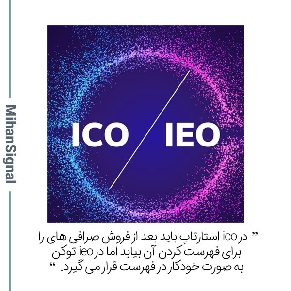 در ico استارتاپ باید بعد از فروش صرافی های را برای فهرست کردن آن بیابد اما در ieo توکن به صورت خودکار در فهرست قرار می گیرد.