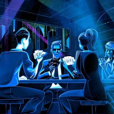 چند نفر درحال بازی پوکر با توکن های دیجیتال