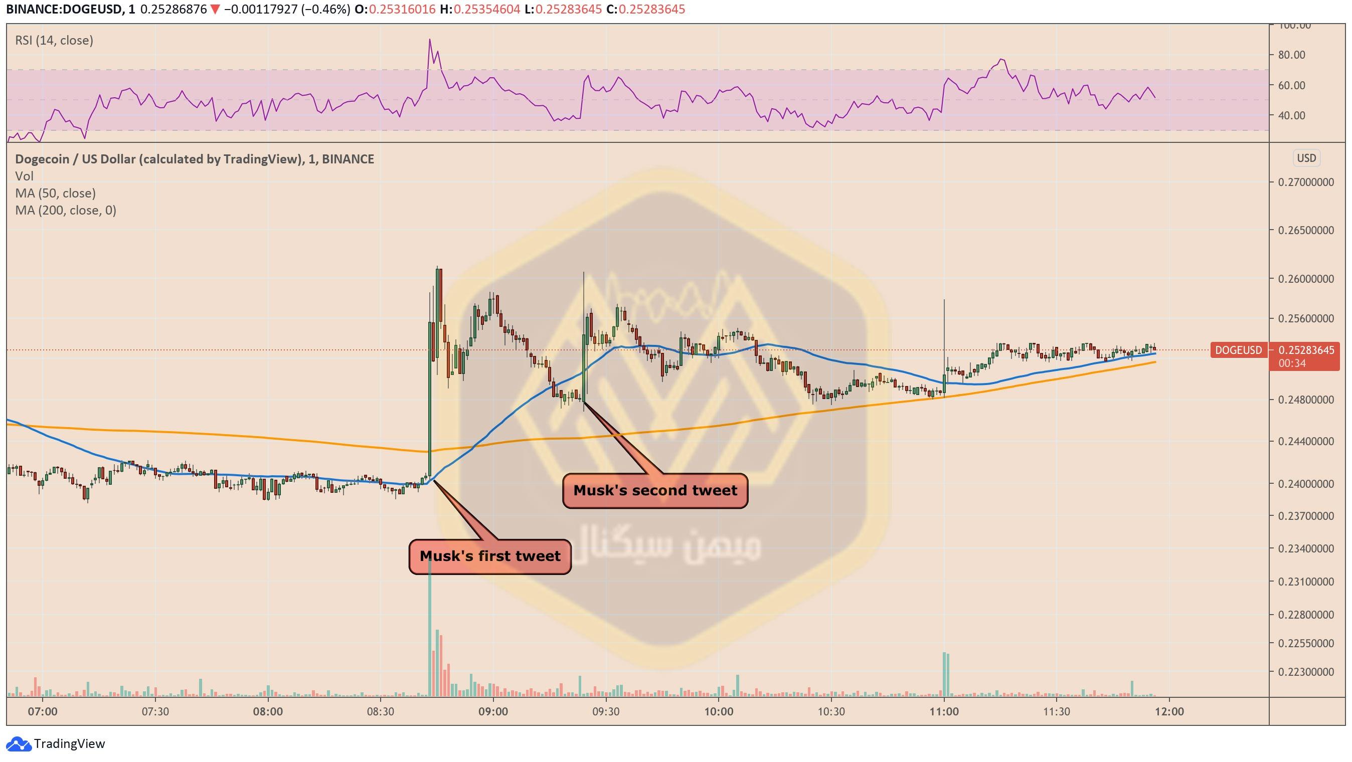 نمودار یکدقیقهای قیمت دوج کوین / دلار